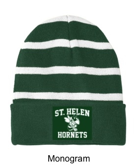Hunter Green and White Winter Hat (One Size) f472bdadf5d